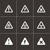 Vector black danger icon set — Stock Vector