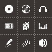 Vector black dj icon set — Stock Vector