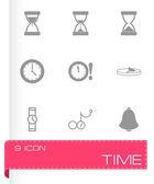 Vector nero tempo icone set — Vettoriale Stock