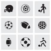 Set di icone vettoriali nero calcio — Vettoriale Stock