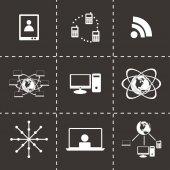 Vector black web icons set — Stock Vector
