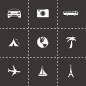Vector black travel icons set — Stock Vector