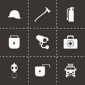 Vector black security icons set — Stock Vector