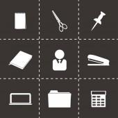 Ensemble d'icônes vectorielles noirs bureau — Vecteur