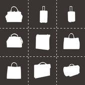 Vector black bag icons set — Stock Vector