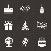 Zestaw ikon urodziny wektor czarny — Wektor stockowy
