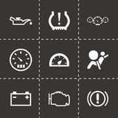 Vector black car dashboard icons set — Vettoriale Stock