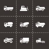 Vector black construction transport icons set — Stock Vector