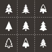 Vector black cristmas trees icons set — Stock Vector