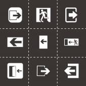 Vector black exit icons set — Stockvektor
