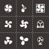 Vector black fans and propellers icons set — Stock Vector