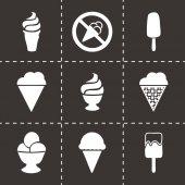 Vector black ice cream icons set — Stock Vector