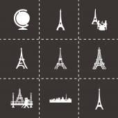 Vector black paris icons set — Stockvektor