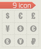 Vector black currency symbols  icons set — Stock Vector