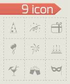 Vector black party icons set — Stock Vector
