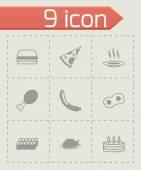 Vector black food icons set — Vetor de Stock