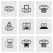 Vector printer icon set — Vecteur