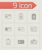 Vector id card icon set — Stock Vector