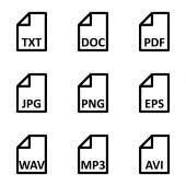 Vector black file type icon set — Stock Vector