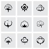 Vector cotton icon set — Stock Vector