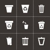 Vector trash can icon set — Stock Vector