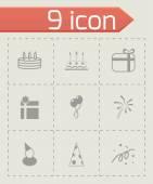 Vector black birthday icon set — Stock Vector