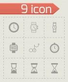 Vector black clock icon set — Vetor de Stock