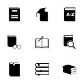 Vector black schoolbook icon set — Stock Vector