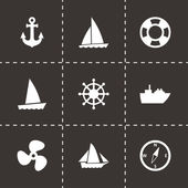 Vector ship and boat icon set — Stock Vector