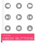 Icone tasti di media di vettore — Vettoriale Stock