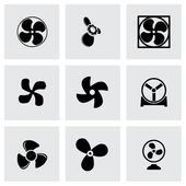 Vector fans and propellers icons set — Stock Vector