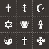 Vector religious symbols icon set — Stock Vector