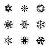 Vector snowflake icon set — Stock Vector