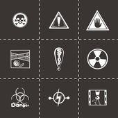 Vector Danger icon set — Stock Vector