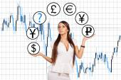 Modern business woman and currency manipulation. — Stock Photo