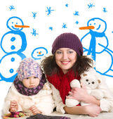 Mother and daughter in winter clothes — Stock Photo