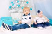 Kids in New Year interior — Stock Photo