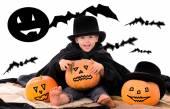 Halloween scene with little boy — Stock Photo