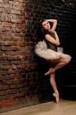 Ballerina in tutu near brick wall — Stock Photo