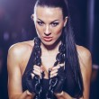Young sports woman with heavy chain fashion portrait — Stock Photo #70217505
