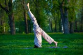 Practicing yoga in the morning, with trees  background — Stock Photo