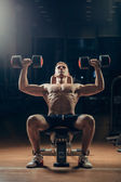 Athlete muscular bodybuilder training back with dumbbell  in the gym — Stock Photo