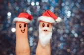 Face painted on the fingers. Santa Claus for Christmas — Stockfoto