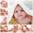 Collage masseur doing massage and gymnastics little baby — Stock Photo #56780323