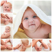 Collage masseur doing massage and gymnastics little baby — Stock Photo