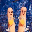 Finger art of a Happy couple. Couple making good cheer. Two glasses of champagne. Toned image. — Stock Photo #60772561