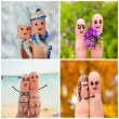 Finger art of a Happy couple. Four Seasons: winter, spring, summer, autumn. — Stock Photo #67185125