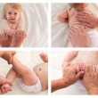Collage masseur doing massage and gymnastics little baby. masseur doing the child back massage, exercises for hands and feet. — Stock Photo #77354332