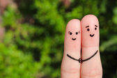 Finger art of a Happy couple. Happy couple holding hands. — Stock Photo
