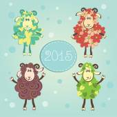 Funny New Year sheeps — Stock Vector